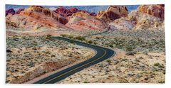 Road Through The Valley Of Fire Beach Towel