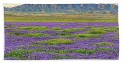 Valley Phacelia And Caliente Range Beach Towel
