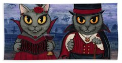 Vampire Cat Couple Beach Towel