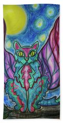 Beach Towel featuring the drawing Vampy Kitty by Mimulux patricia No