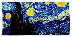 Van Gogh Starry Night  Beach Sheet by Scott D Van Osdol