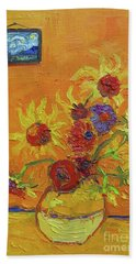 Van Gogh Starry Night Sunflowers Inspired Modern Impressionist Beach Towel