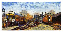 Van Gogh.s Train Station 7d11513 Beach Sheet