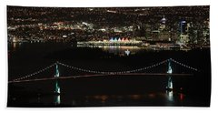 Vancouver At Night Beach Towel