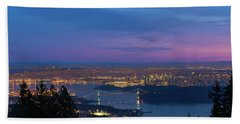 Vancouver Bc Cityscape Lions Gate Bridge Sunset Beach Towel