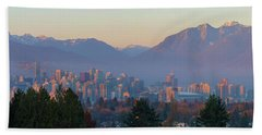 Vancouver Bc Downtown Cityscape At Sunset Panorama Beach Towel