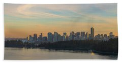 Vancouver Bc Skyline Along Stanley Park At Sunset Beach Towel
