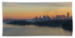 Vancouver Bc Skyline And Stanley Park At Sunset Beach Towel