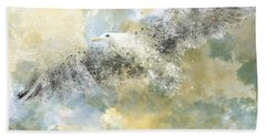 Vanishing Seagull Beach Towel by Melanie Viola
