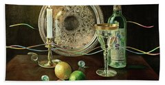 Vanitas Still Life By Candlelight With Les Bourgeois Wine Beach Towel