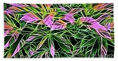 Variegated Leaves Pink And Green Beach Towel by Linda Phelps