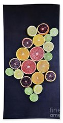 Beach Towel featuring the photograph Variety Of Citrus Fruits by Stephanie Frey