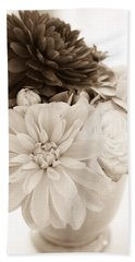 Vase Of Flowers In Sepia Beach Towel