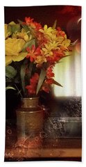 Vase Of Flowers Beach Sheet