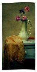 Vase Of Pink Roses Beach Towel