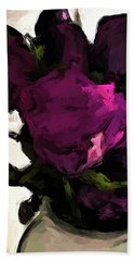 Vase Of Roses With Shadows 1 Beach Towel