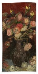 Vase With Chinese Asters And Gladioli Beach Sheet