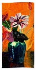 Vase With Flowers Beach Sheet