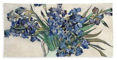 Beach Towel featuring the painting Vase With Irises by Van Gogh