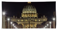 Vatican At Night With Lights  Beach Towel
