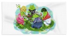 Vegas Frogs Playing Poker Beach Sheet
