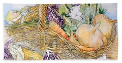 Vegetables In A Basket Beach Towel by Joan Thewsey