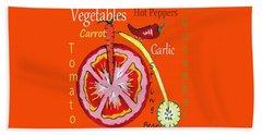 Beach Sheet featuring the mixed media Vegetables by Kathleen Sartoris