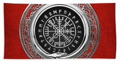 Vegvisir - A Silver Magic Viking Runic Compass On Red Leather  Beach Towel