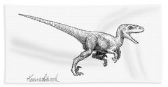Beach Sheet featuring the drawing Velociraptor - Dinosaur Black And White Ink Drawing by Karen Whitworth