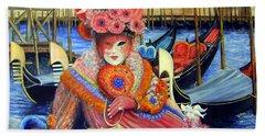Venetian Carneval Mask With Bird Cage Beach Sheet