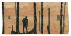 Venetian Gondolier In The Sunset Beach Sheet