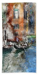 Venetian Gondolier In Venice Italy Beach Towel