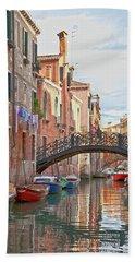Beach Towel featuring the photograph Venice Bridge Crossing 5 by Heiko Koehrer-Wagner