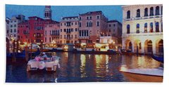 Beach Towel featuring the photograph Venice By Night by Anne Kotan