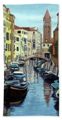 Beach Towel featuring the painting Venice Canal Reflections by Janet King