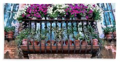 Beach Sheet featuring the photograph Venice Flower Balcony by Allen Beatty