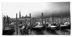 Beach Towel featuring the photograph Venice Gondolas Black And White by Rebecca Margraf