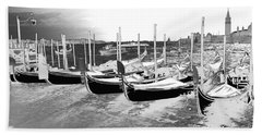 Beach Towel featuring the photograph Venice Gondolas Silver by Rebecca Margraf