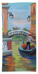 Beach Towel featuring the painting Venice Gondolier 1 by Diane McClary
