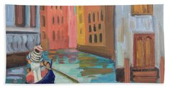 Beach Towel featuring the painting Venice Gondolier 2 by Diane McClary
