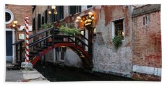 Venice Italy - The Cheerful Christmassy Restaurant Entrance Bridge Beach Towel