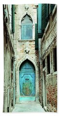 Venice Italy Turquoise Blue Door  Beach Towel