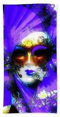 Venice Purple Carnival Mask Beach Towel