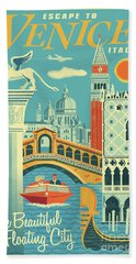 Venice Retro Travel Poster Beach Towel