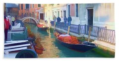 Beach Towel featuring the photograph Venice Sidewalk Cafe by Roberta Byram
