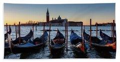 Venice Sunrise With Gondolas Beach Towel