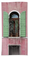 Venice Window In Pink And Green Beach Sheet by Brooke T Ryan