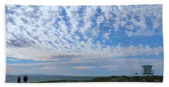 Ventura Beach With Blue Sky And  Puffy Clouds Beach Towel