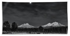 Beach Towel featuring the photograph Venus Over Three Sisters by Cat Connor