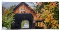Vermont Fall Colors Over The Middle Bridge Beach Towel